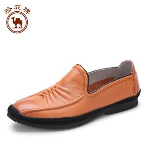 骆驼牌 春夏季新品 日常休闲男士皮鞋 套脚鞋 耐磨休闲男鞋子