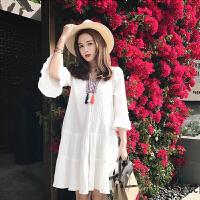 孕妇夏装连衣裙时尚2018韩版新款上衣中长款宽松雪纺孕妇裙子潮妈