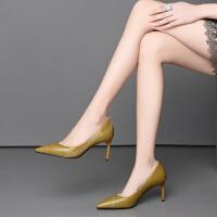 2019春夏季新款真皮牛皮欧美7.5CM细跟高跟鞋尖头浅口女单鞋瓢鞋