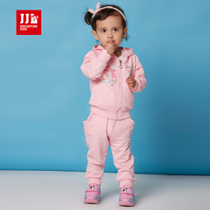 季季乐童装女童春秋套装新款女童休闲套装连帽卡通卫衣套装PGCZ61030