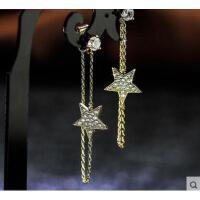韩版时尚s925银星星回绕耳链耳环女  韩版时尚个性气质长款新款耳饰