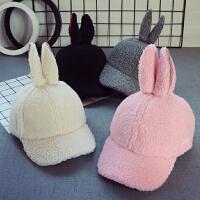 新款秋冬�和�����帽子兔耳朵3女童棒球帽�n版4男童��舌帽2-5�q厚