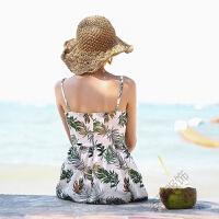 2018夏吊带小V领连衣中长裙绑带露背波西米亚沙滩裙 图片色