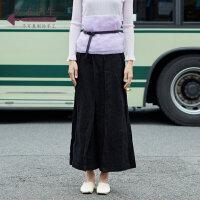 生活在左2018秋季新款女复古高腰宽松垂感阔腿裤八分裤休闲花苞裤