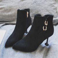 高跟小短靴猫跟女鞋子2018春秋冬季新款细跟马丁靴尖头单靴女靴子