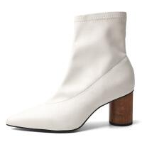 短靴女粗跟2018秋冬新款韩版百搭尖头短筒裸靴个性黑色高跟靴子