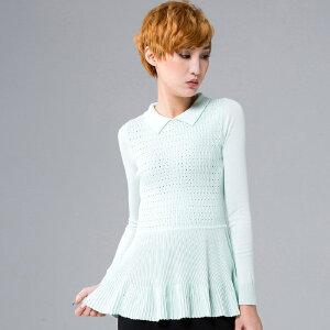 2018春夏新款棉质小翻领针织打底衫修身薄款裙摆上衣镂空套头长袖