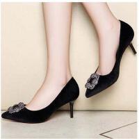 百年纪念英伦高跟鞋女秋新款冬细跟尖头性感女鞋子黑色工作鞋