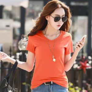 春夏新款韩版百搭纯色修身V领半袖T恤女纯棉白色短袖体恤上衣WK7633