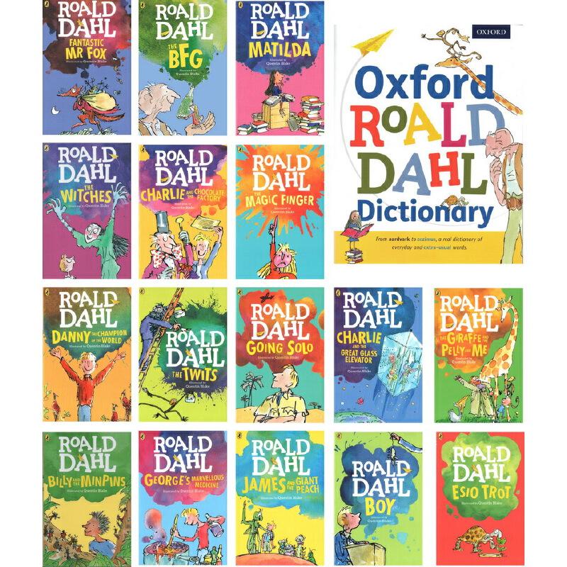 Roald Dahl 英文原版 罗尔德达尔 Matilda 玛蒂尔达 全套装16册小说章节书 1册牛津配套儿童词典 oxford Roald Dahl Dictionar
