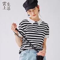 云上生活2019夏新款黑白条纹t恤短袖直筒套头T恤女T5903