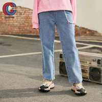 巴拉巴拉旗下棵棵树童装2021年春季新款女中大童宽松百搭长裤直筒舒适牛仔裤