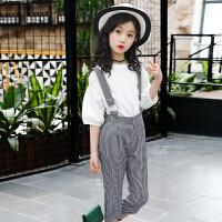 女童背带裤套装2018新款夏装洋气时髦儿童装中大童两件套韩版潮衣