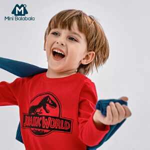 迷你巴拉巴拉男童圆领长袖T恤秋新款男宝宝小怪兽针织体恤衫