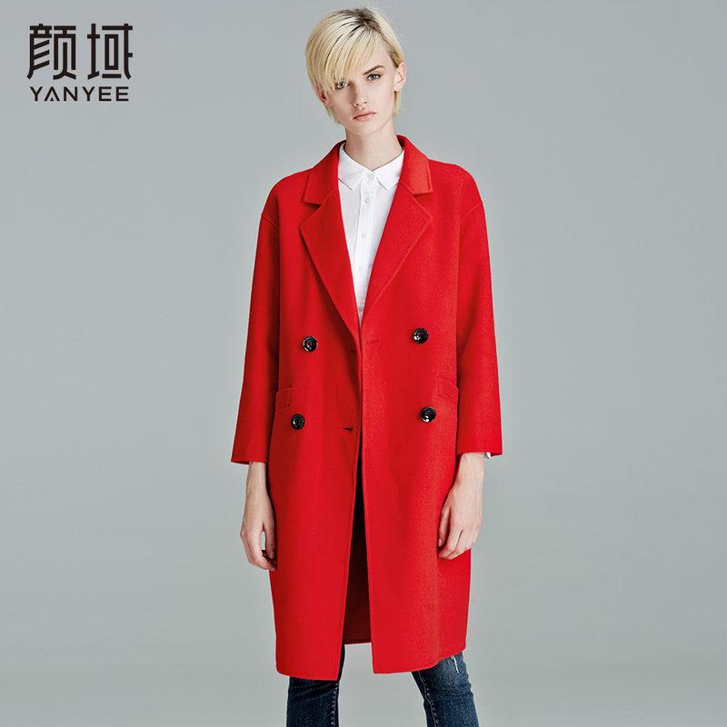 颜域品牌女装2017冬季新款欧美纯色中长款双排扣九分袖双面呢大衣撞色设计,大气时尚