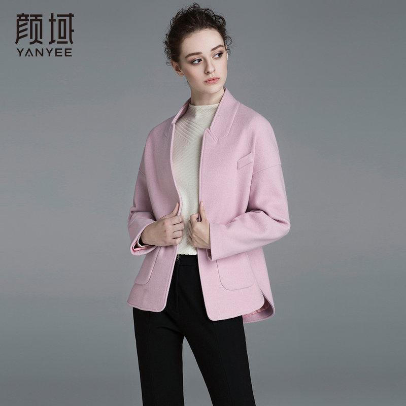 颜域品牌女装2017冬装新款宽松纯色休闲立领加厚短款呢子外套女立领设计,干练有型