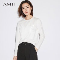 AMII基础款白T恤春装2018新款女简洁圆领宽松印花长袖上衣.