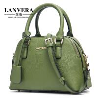 【支持礼品卡】LANVERA 真皮贝壳包女包潮欧美时尚女士头层牛皮手提斜挎包包 L2035