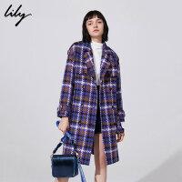 【不打烊价:674.7元】 Lily春秋新款女装英伦格纹羊毛大衣系带毛呢外套118440F1515