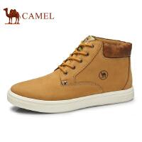 骆驼牌 男鞋 新品户外休闲男靴子牛皮柔软系带工装鞋男