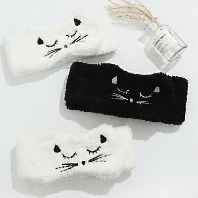 粉红娘娘(PINK EMPRESS)羊羔毛发带女洗脸简约网红束发带头饰洗脸可爱猫咪宽边发箍魔术贴