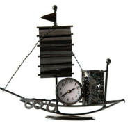 创意小礼品 金属工艺品 帆船造型笔筒时钟 桌面复古装饰摆件 多用途 送朋友生日礼物