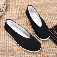 传统老北京布鞋男款圆口中老年老头鞋休闲剪刀口黑布鞋功夫老汗鞋
