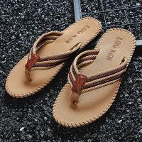 【AONE精品】男士人字拖夏季防滑外穿凉拖鞋厚编织带软底弹性拖鞋