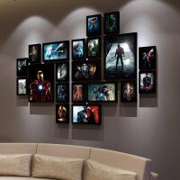 小丑钢铁侠蝙蝠侠动漫电影复古实木框海报装饰画咖啡馆照片相框墙SN0822 2厘米厚度实木框 成套价格