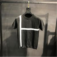 秋冬新款男士针织短袖T恤个性黑白条纹拼色青年潮款修身半袖毛衣 黑色