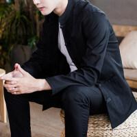 中国风男装复古大码唐装夹克男青年盘扣外套中山装龙袍刺绣汉服秋