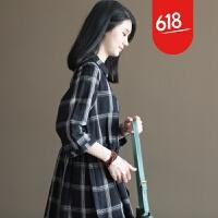 原创春装新款文艺复古麻棉森女格子宽松大码连衣裙长裙显瘦GH073 黑色格子