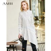 【到手价:260元】Amii极简不规则个性学院风条纹衬衫2019秋新款长款全棉宽松衬衣女