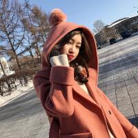 毛呢外套女中长款2017冬装新款韩版森系矮小个子连帽加厚呢子大衣