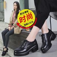品牌真品女鞋真皮加绒英伦风小皮鞋女粗跟学院风女单鞋