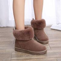 秋冬款短筒加厚雪地靴韩版百搭学生保暖防滑棉鞋毛毛鞋兔耳朵女靴