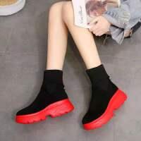 【新款】冬季加绒短靴女飞织两穿厚底女靴中筒袜子鞋松糕鞋学生鞋 厚绒