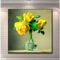 十字绣客厅小幅黄玫瑰花瓶现代花卉钻石画卧室餐厅贴砖点钻砖石画
