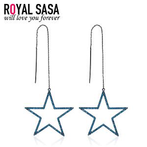 皇家莎莎五角星几何耳线耳环女s925银针欧美简约气质长款耳坠饰品