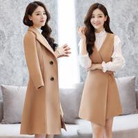 两件套裙子2018秋冬新款韩版气质加厚毛呢连衣裙女中长款冬裙套装 016卡其(两件套) S