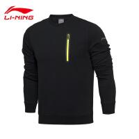 李宁卫衣男士2017新款训练系列套头衫长袖圆领针织运动服AWDM089