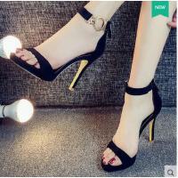 莫蕾蔻蕾高跟鞋夏季新款女百搭韩版一字扣凉鞋露趾细跟浅口女鞋性感潮71235
