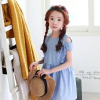 新品夏装童装韩版女童连衣裙露肩中大童童裙