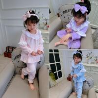 家居服套装 童装女童宝宝公主花边睡衣三件套