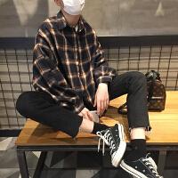 春夏韩版宽松复古咖啡格子印花长袖衬衣学生打底衫防晒短外套男