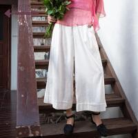 生活在左2019夏季新款女装文艺复古亚麻纯色宽松百搭阔腿裤长裤女