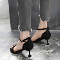 女款凉鞋2019新款时尚夏季一字扣高跟鞋5cm韩版细跟猫跟鞋中跟潮夏季百搭鞋