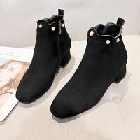 靴子女冬2019新款女士马丁靴韩版百搭中粗跟网红瘦瘦短靴加绒棉鞋