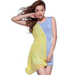 夏季新款女装宽松无袖圆领拼色雪纺连衣裙女沙滩短裙针织衫毛衫