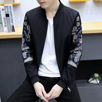 男士夹克韩版修身长袖京剧脸谱印花棒球服青年秋款男装外套潮